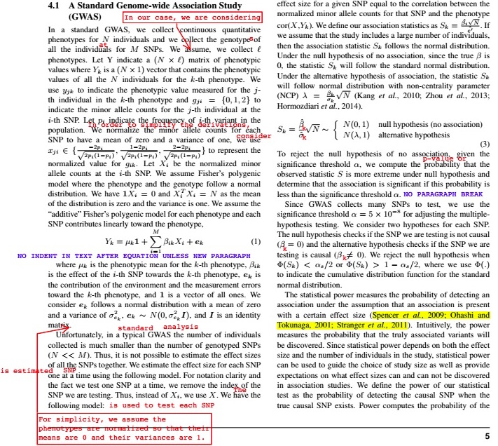 This is an example of our edits.  The red marks are directly edits and the blue are high level comments.